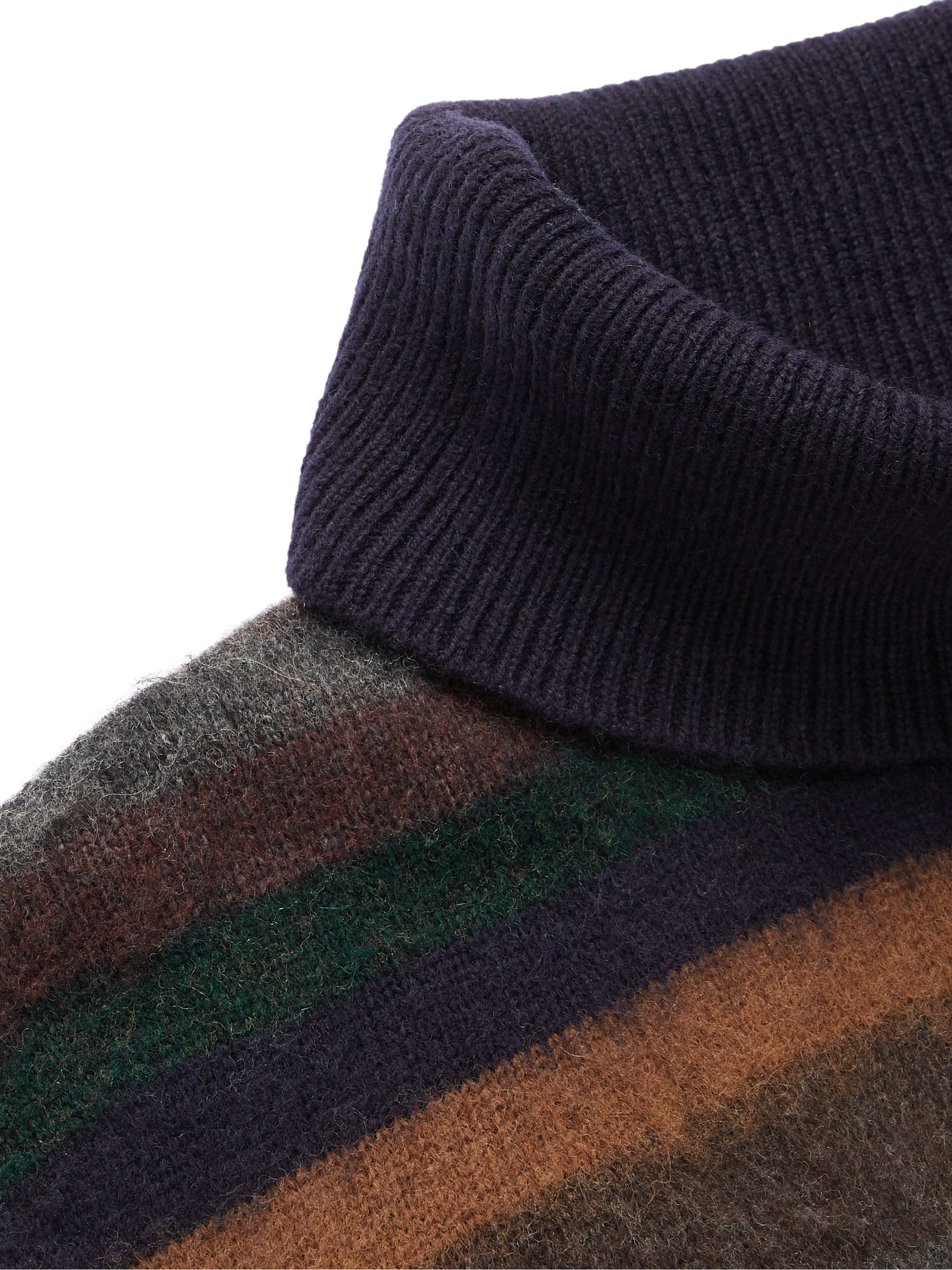 NN07 John Striped Brushed Wool-Blend Rollneck Sweater