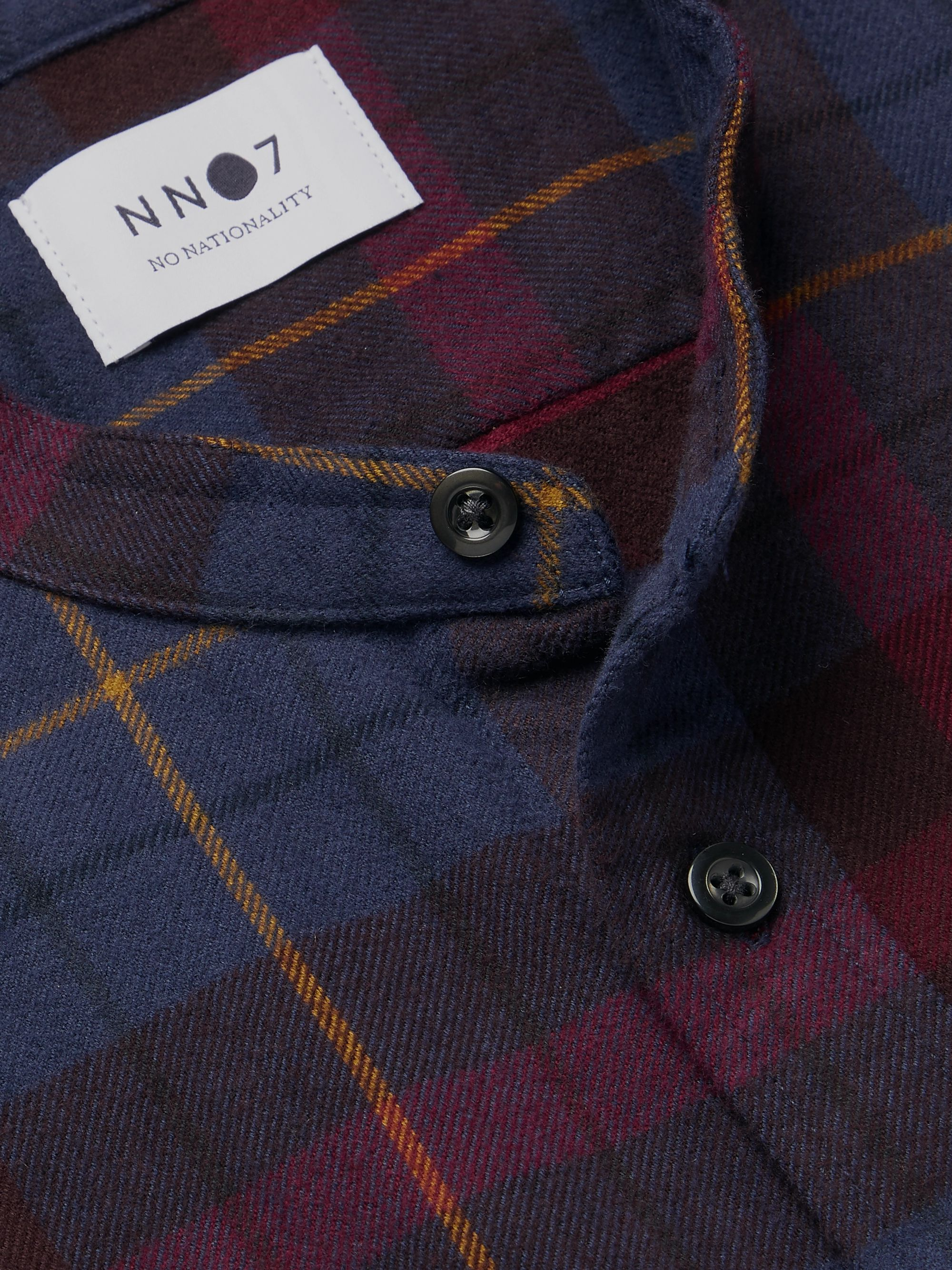 NN07 Grandad-Collar Checked Cotton and Wool-Blend Flannel Shirt