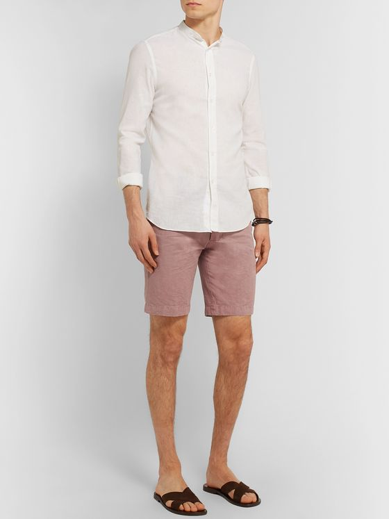 Officine Generale Julian Slim-Fit Garment-Dyed Cotton-Blend Shorts
