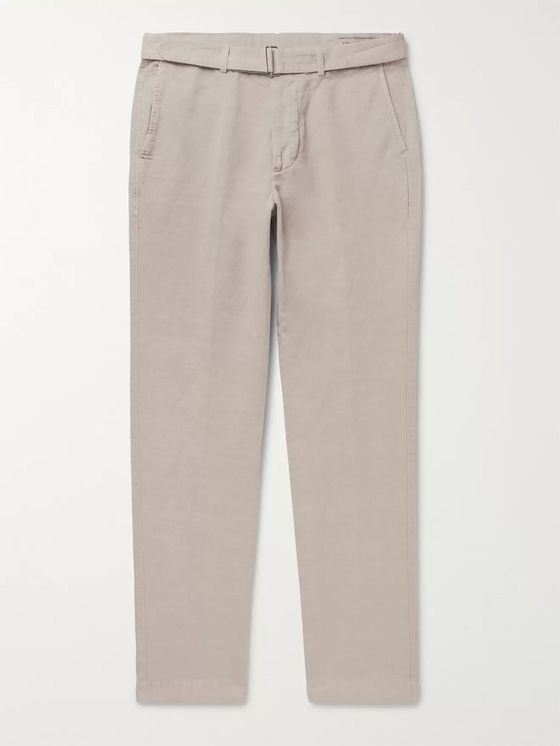 Officine Generale Julian Slim-Fit Garment-Dyed Cotton and Linen-Blend Trousers
