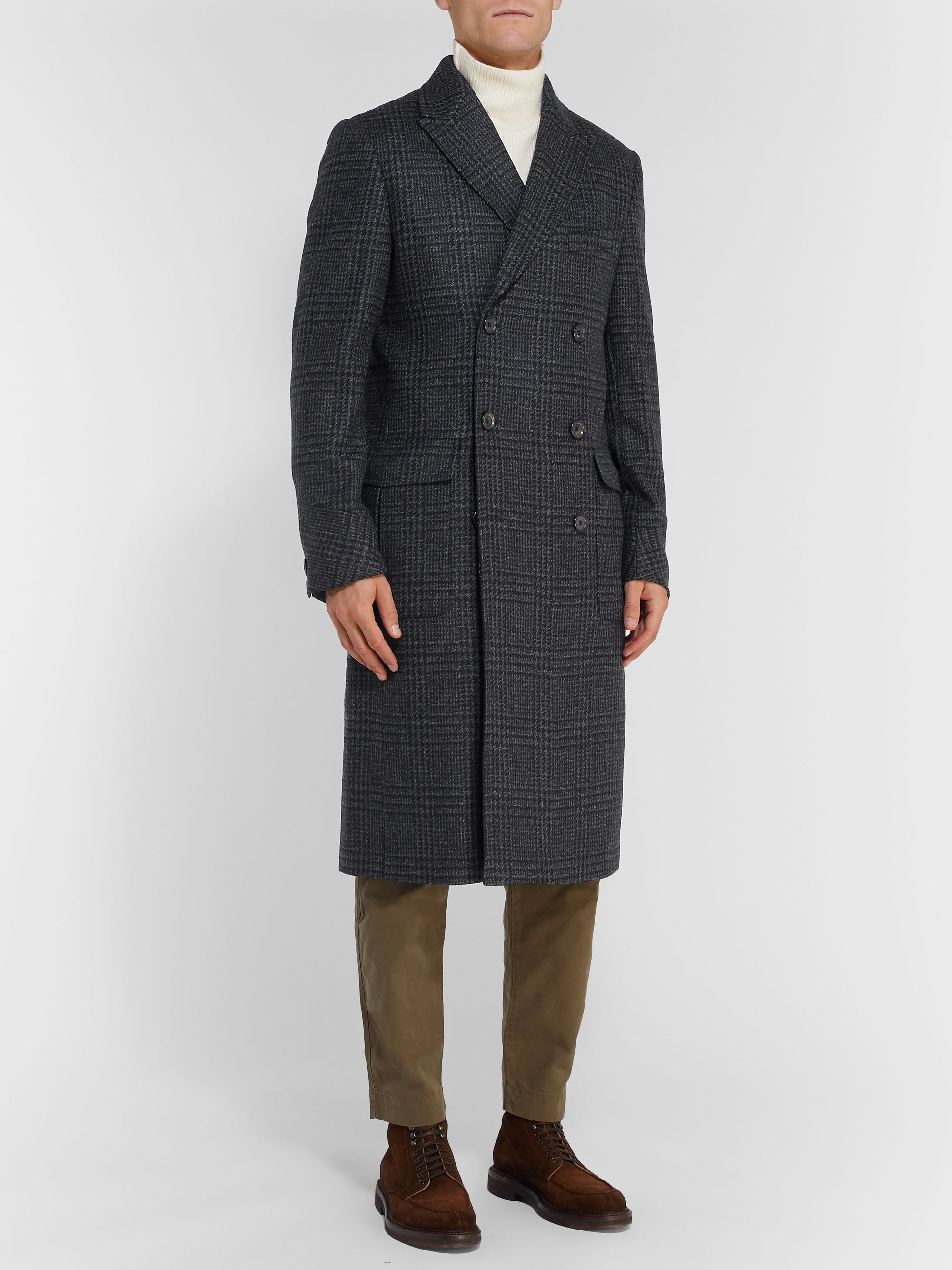 Oliver Spencer Double-Breasted Prince of Wales Checked Lambswool Coat