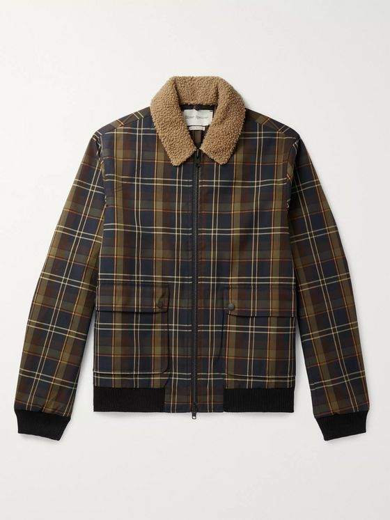 Oliver Spencer Bermondsey Shearling-Trimmed Checked Twill Bomber Jacket