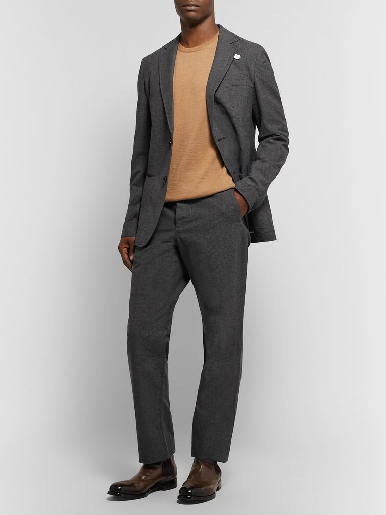 Oliver Spencer Charcoal Puppytooth Cotton and Wool-Blend Trousers