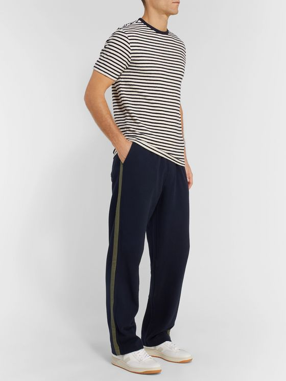 Oliver Spencer Striped Waffle-Knit Cotton Sweatpants