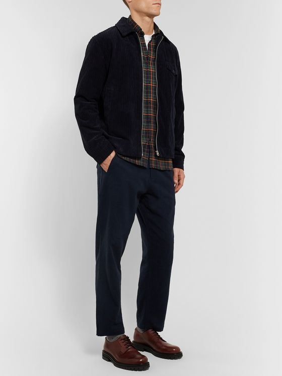Oliver Spencer Button-Down Collar Checked Organic Cotton-Blend Flannel Shirt