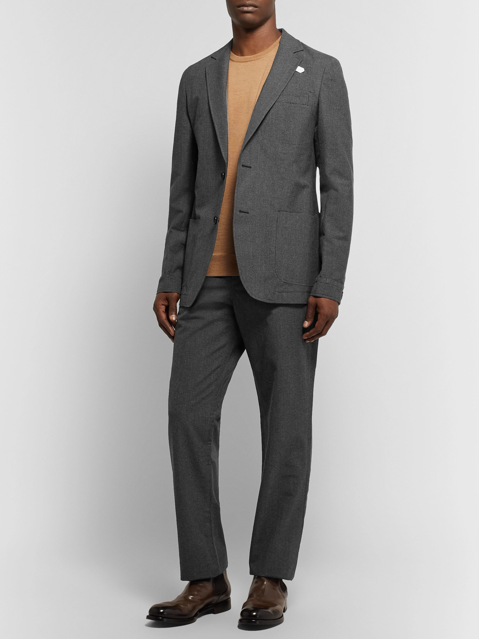 Oliver Spencer Grey Slim-Fit Unstructured Puppytooth Cotton and Virgin Wool-Blend Blazer