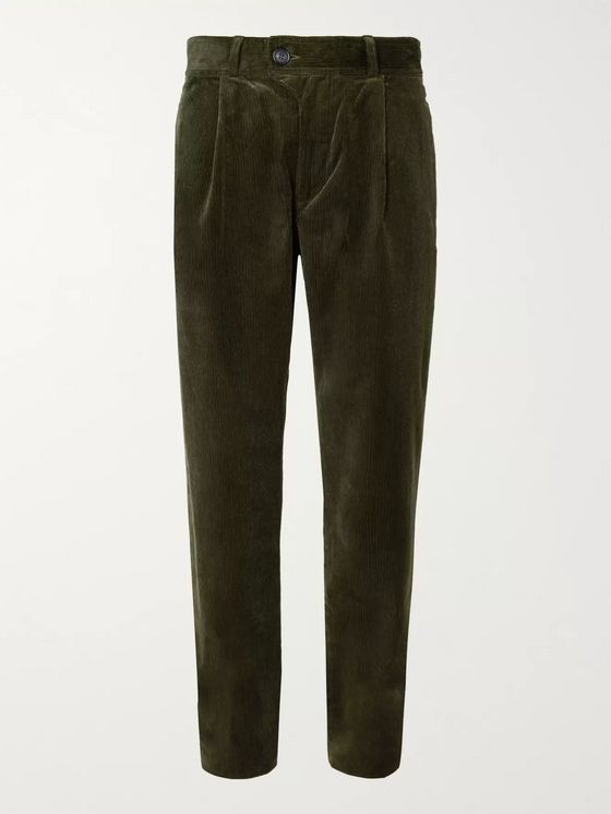 Oliver Spencer Pleated Stretch-Cotton Corduroy Trousers