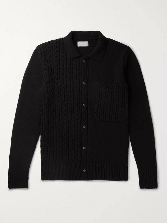 Oliver Spencer Panelled Cable-Knit Wool Cardigan