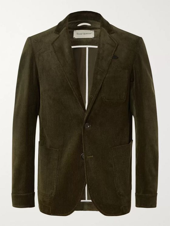 Oliver Spencer Green Unstructured Cotton-Blend Corduroy Blazer