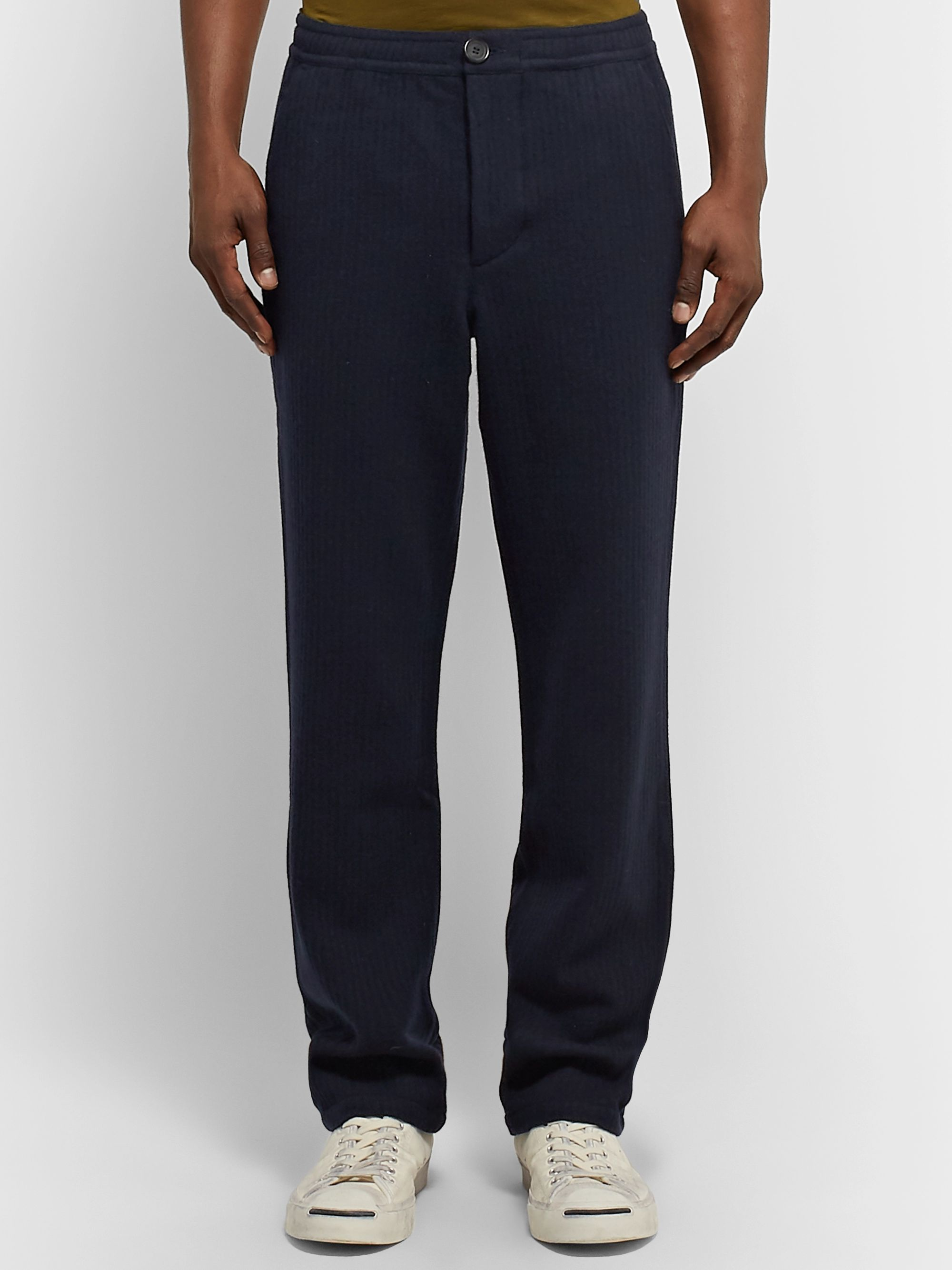Oliver Spencer Navy Striped Wool Trousers