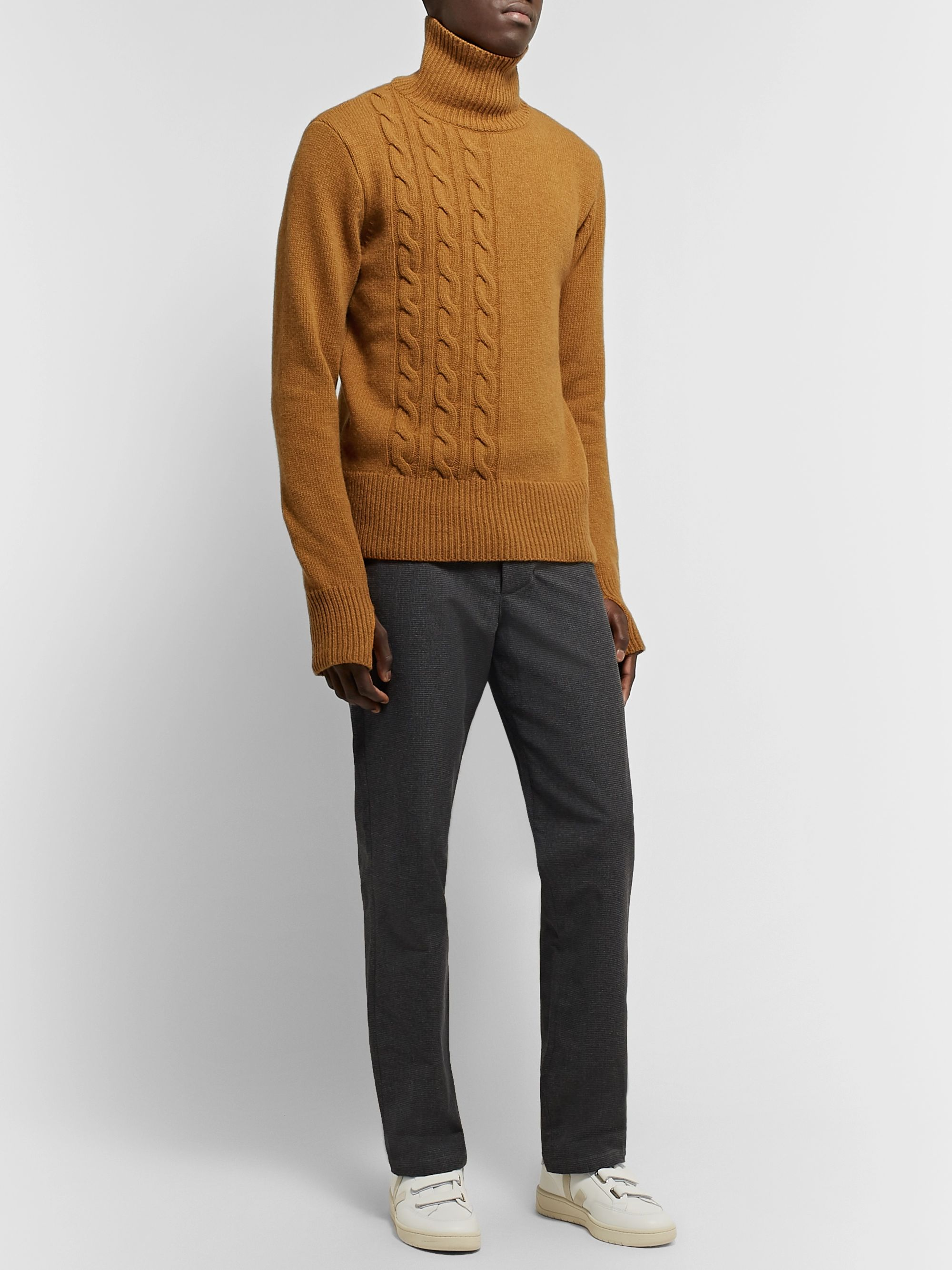 Oliver Spencer Cable-Knit Wool Rollneck Sweater