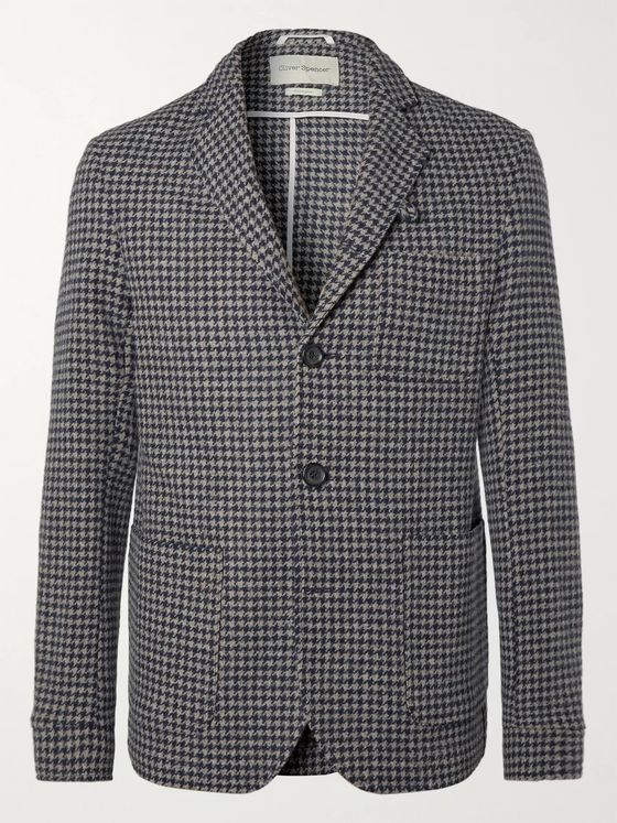 Oliver Spencer Slim-Fit Unstructured Houndstooth Wool Blazer