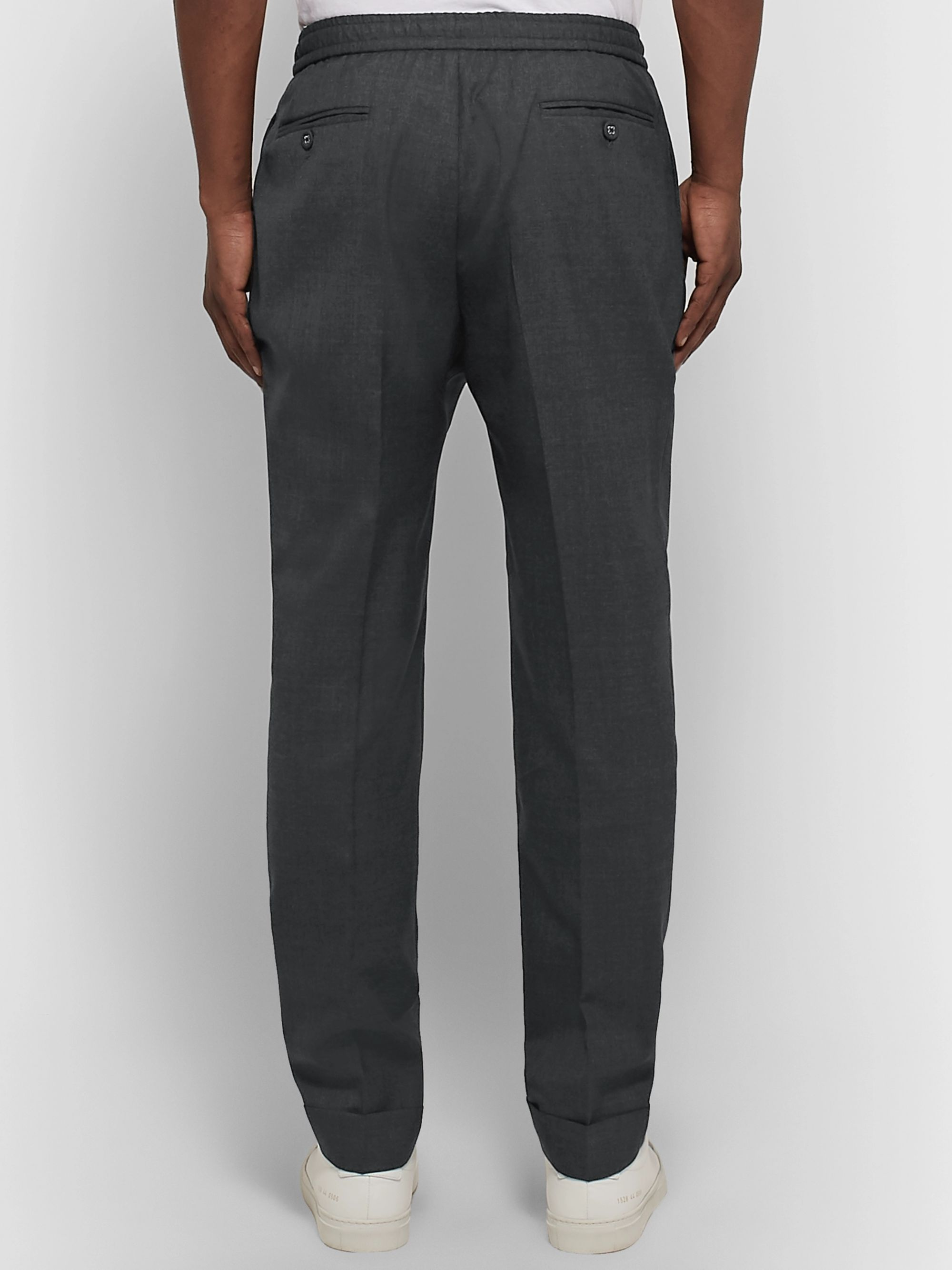 Officine Generale Charcoal Drew Tapered Pleated Wool Trousers