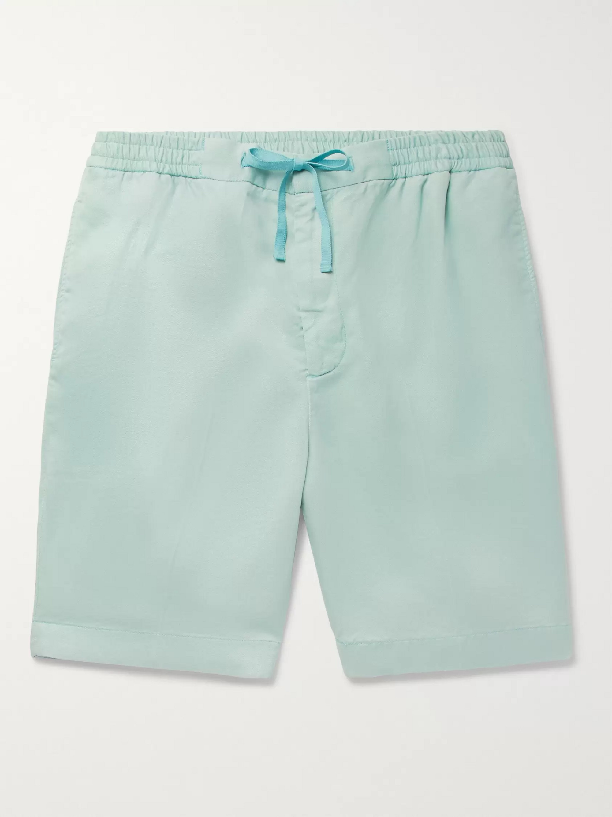 Officine Generale Pleated Lyocell Drawstring Shorts
