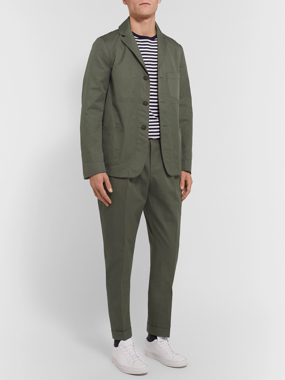 Officine Generale Olive Tapered Pleated Washed Cotton-Twill Suit Trousers
