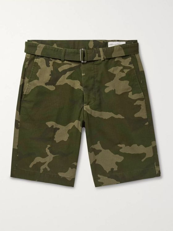 Officine Generale Julian Slim-Fit Belted Camouflage-Print Cotton and Nylon-Blend Ripstop Shorts