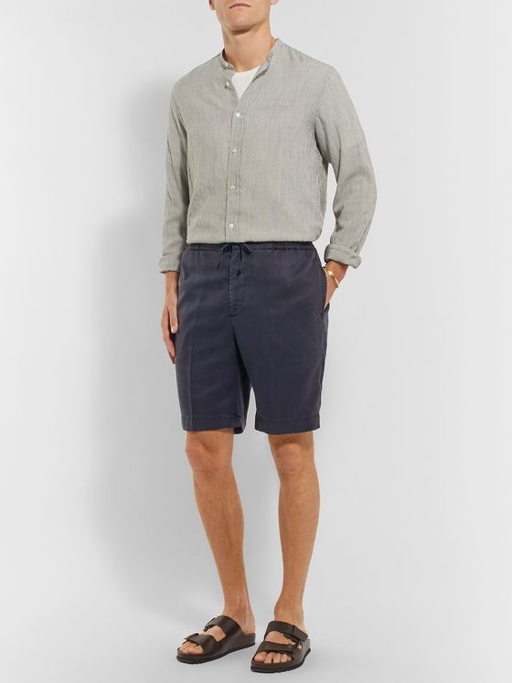 Officine Generale Garment-Dyed Lyocell Drawstring Shorts