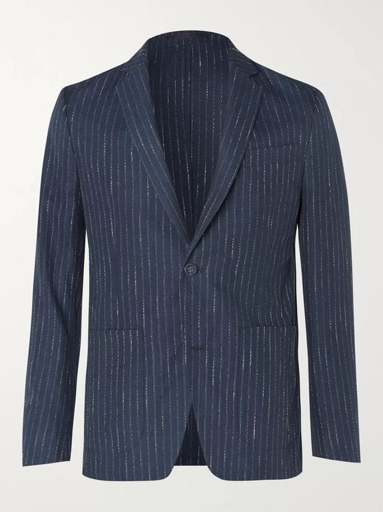 Officine Generale Navy Slim-Fit Unstructured Pinstriped Woven Suit Jacket