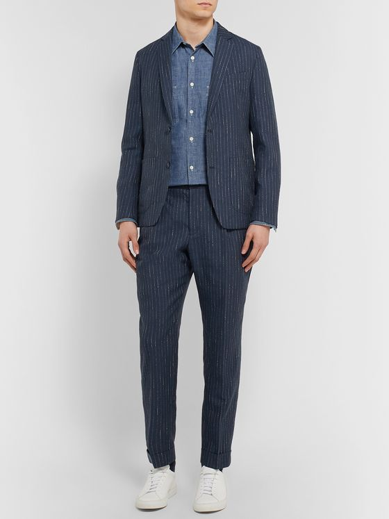 OFFICINE GÉNÉRALE Navy Slim-Fit Unstructured Pinstriped Woven Suit Jacket