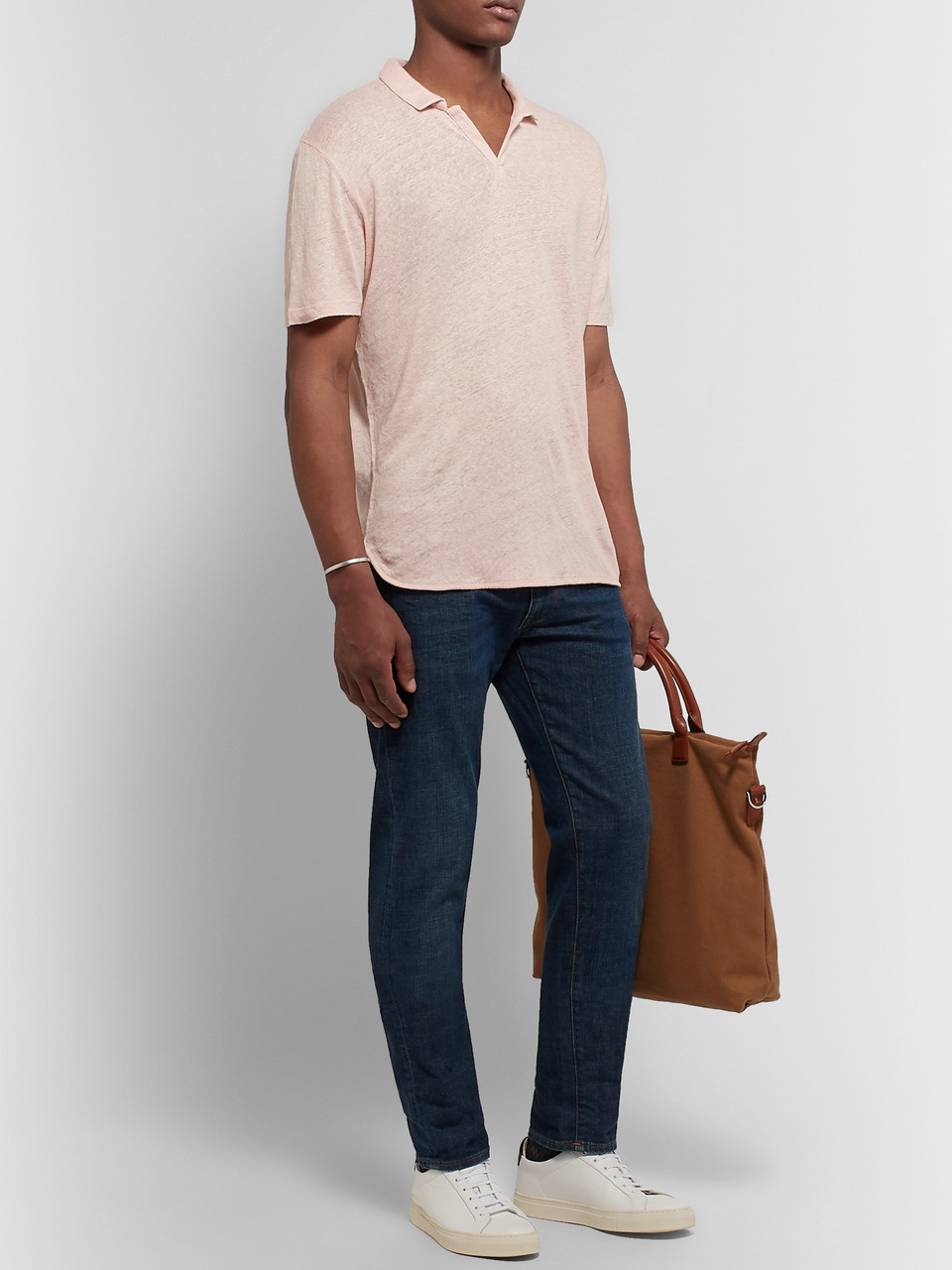 Officine Generale Simon Garment-Dyed Slub Linen Polo Shirt