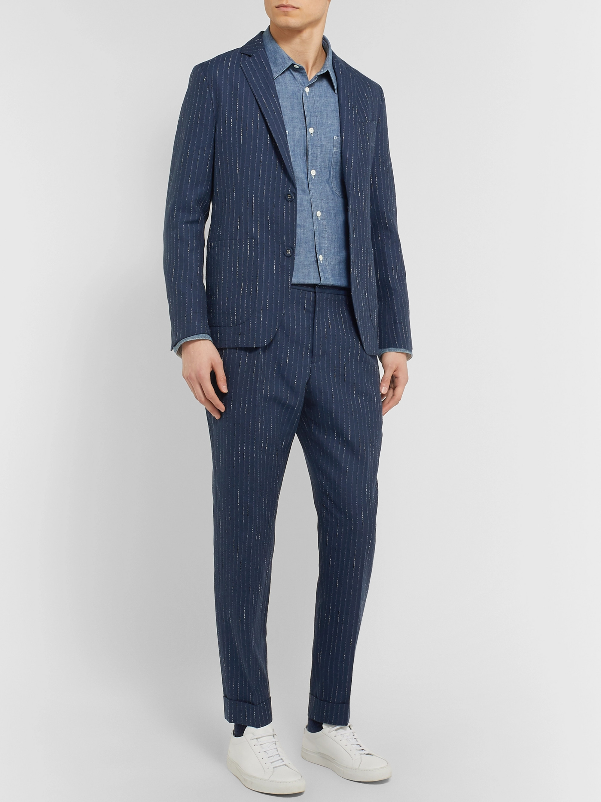 Officine Generale Navy Tapered Pinstriped Woven Suit Trousers