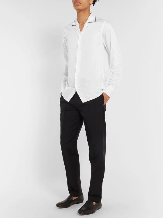 Officine Generale Camp-Collar Contrast-Tipped Lyocell Shirt