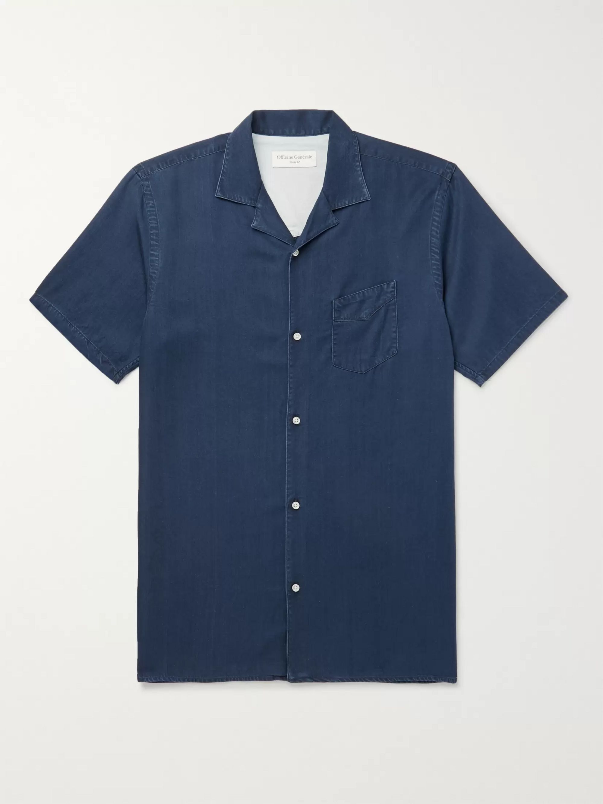 Officine Generale Camp-Collar Lyocell Shirt
