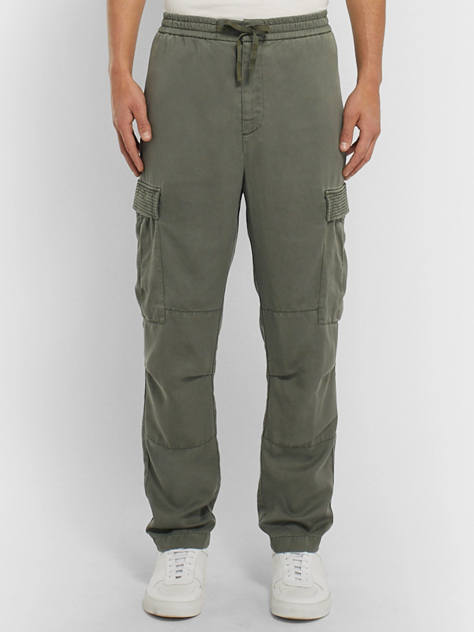 Officine Generale Tapered Garment-Dyed Lyocell Cargo Trousers