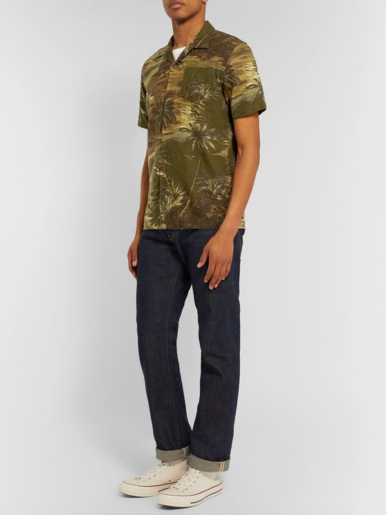 RRL Slim-Fit Camp-Collar Printed Linen-Blend Shirt