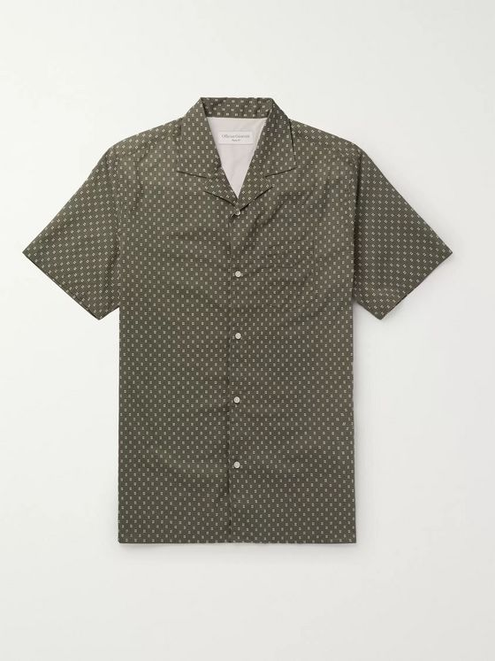 Officine Generale Camp-Collar Printed Cotton Shirt