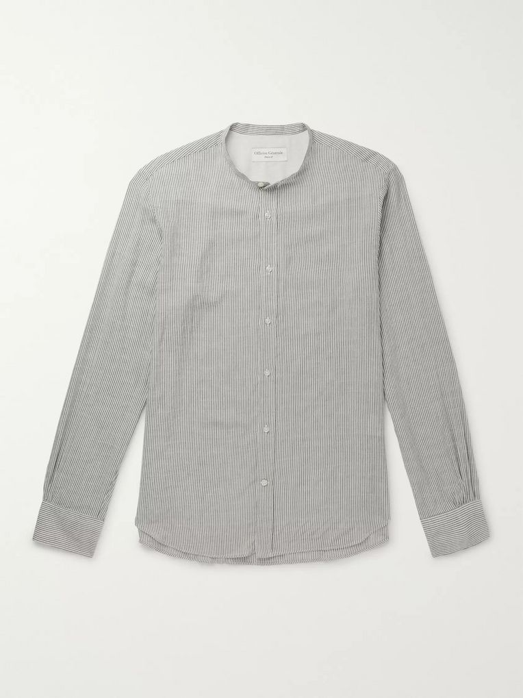 Officine Generale Grandad-Collar Striped Modal-Blend Shirt