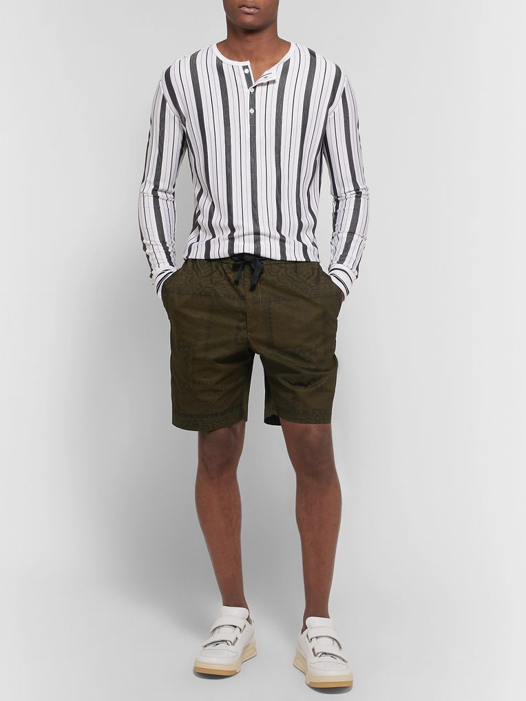 Officine Generale Printed Cotton-Twill Drawstring Shorts