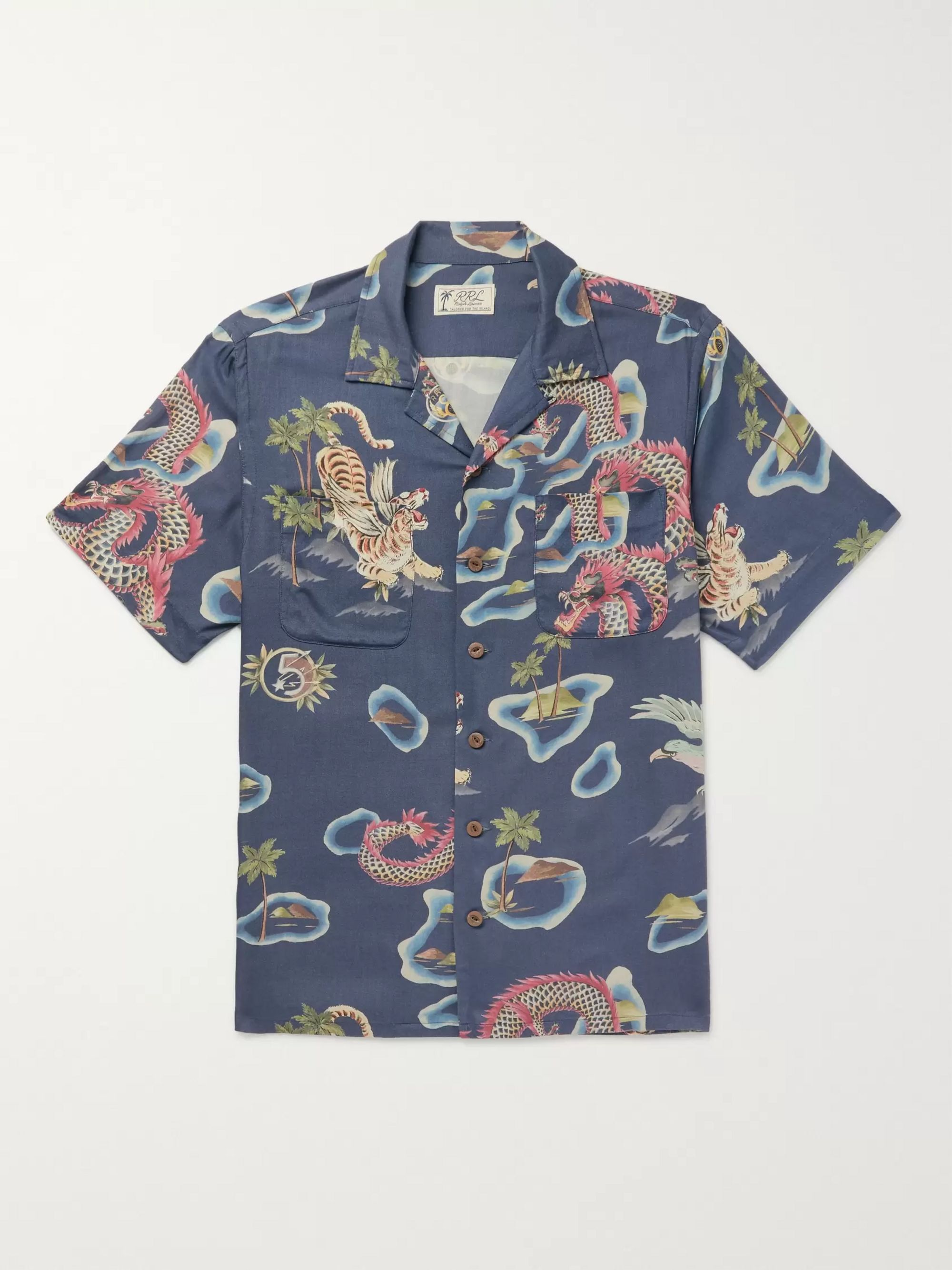 RRL Slim-Fit Camp-Collar Printed Woven Shirt