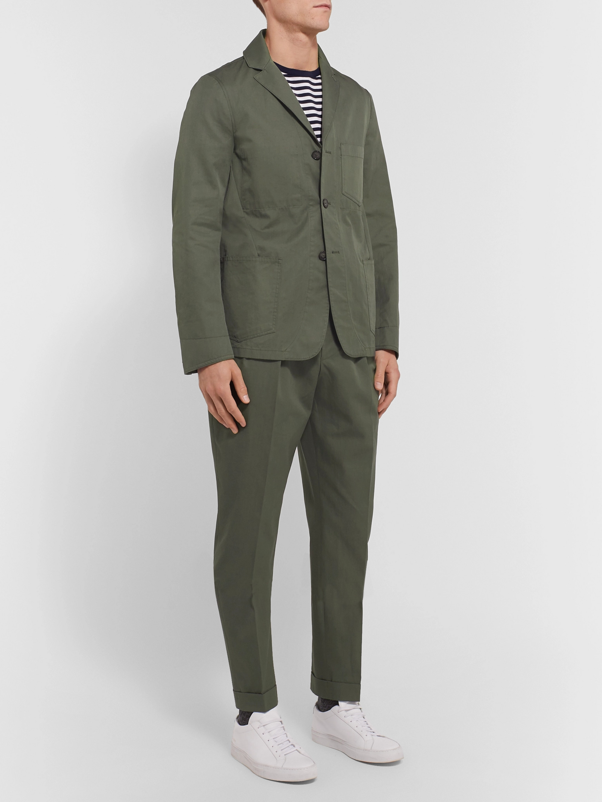 Officine Generale Olive Unstructured Washed Cotton-Twill Suit Jacket