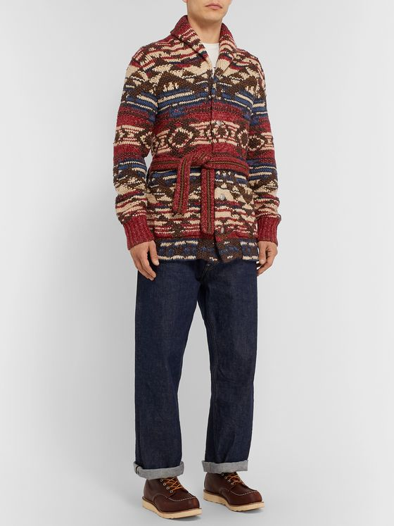 RRL Linen, Wool, Cotton and Silk-Blend Jacquard Cardigan