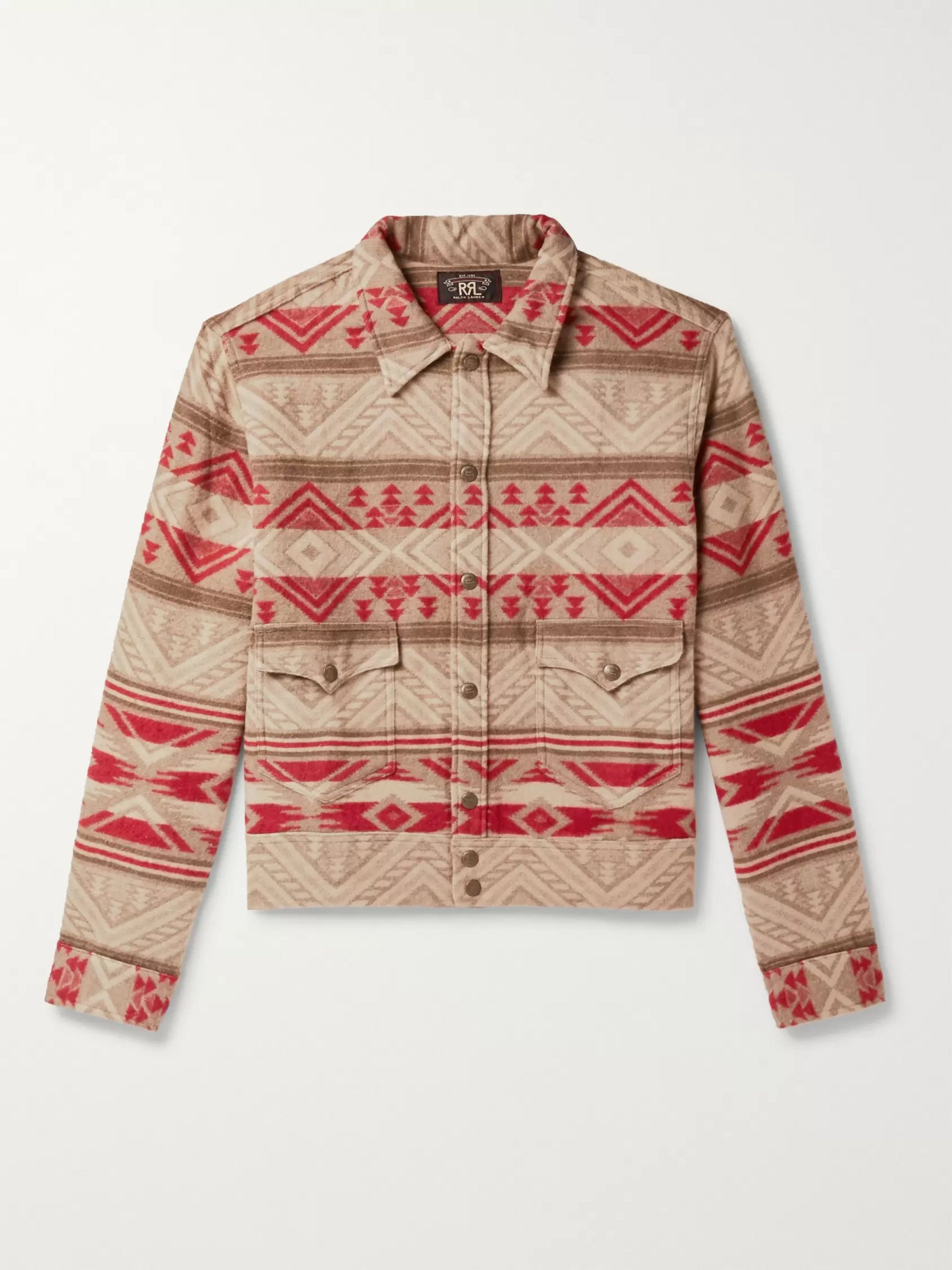 Cotton And Wool Blend Jacquard Overshirt by Rrl
