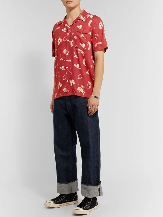 RRL Camp-Collar Printed Woven Shirt