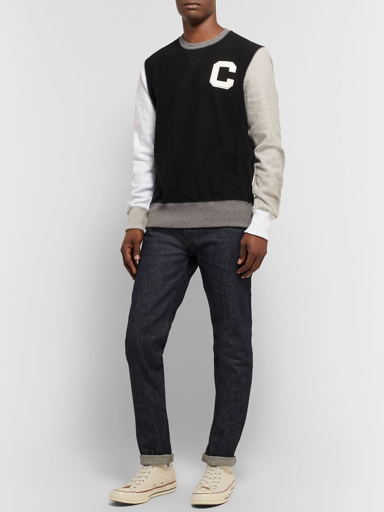 Todd Snyder + Champion Logo-Appliquéd Colour-Block Loopback Cotton-Jersey Sweatshirt