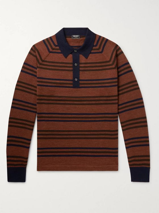 Todd Snyder Striped Merino Wool Polo Shirt