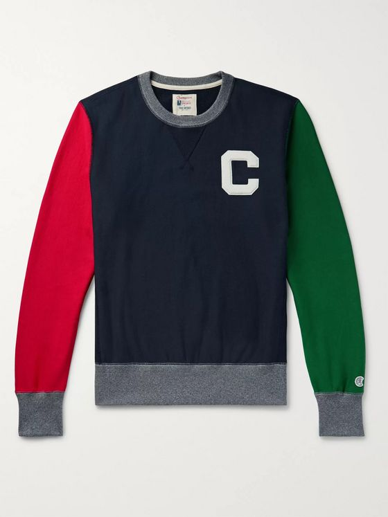Todd Snyder + Champion Appliquéd Colour-Block Loopback Cotton-Jersey Sweatshirt