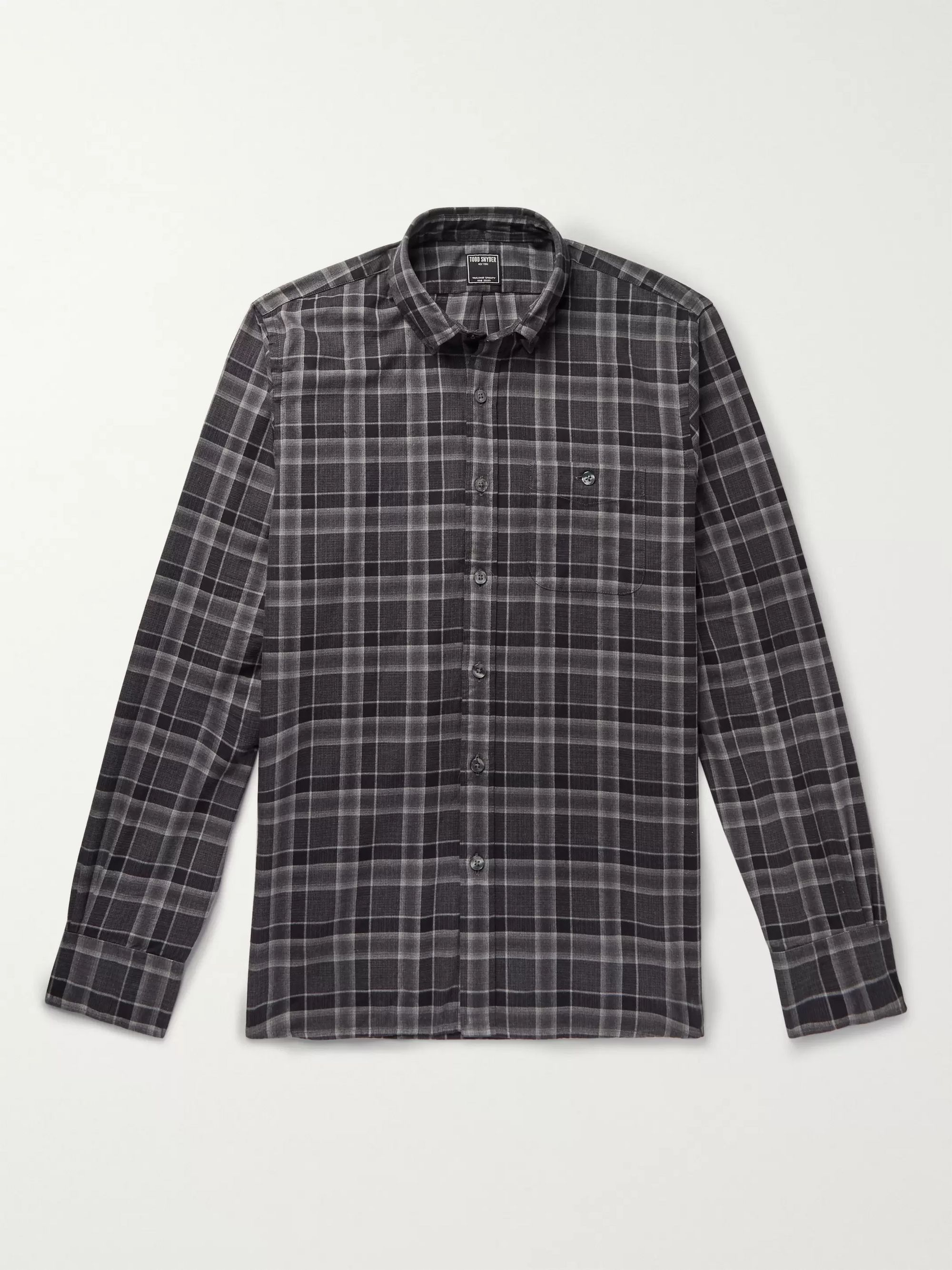 Button Down Collar Checked Cotton Flannel Shirt by Todd Snyder
