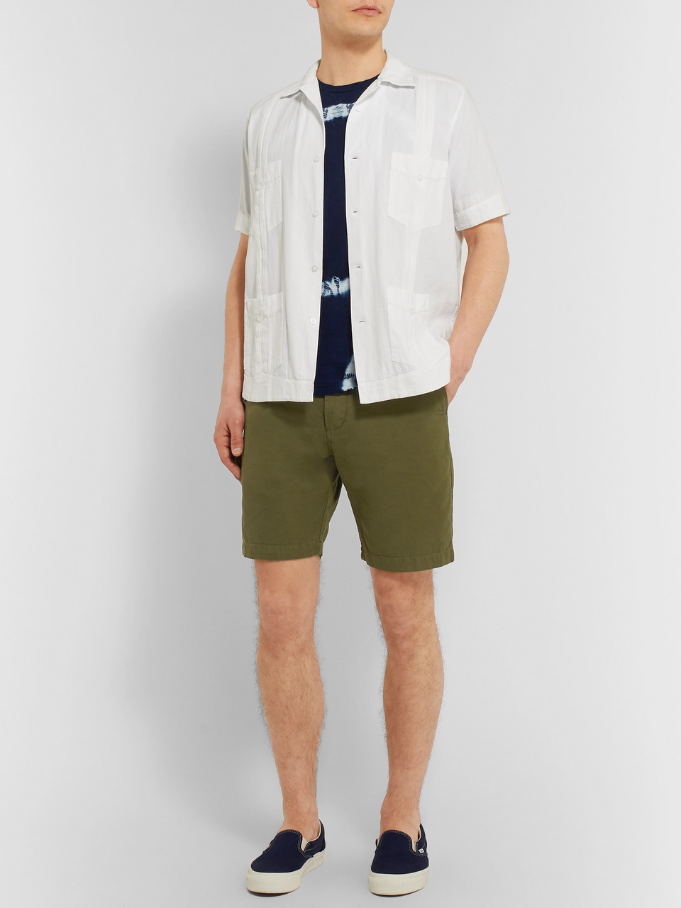 Universal Works Slim-Fit Garment-Dyed Cotton-Canvas Shorts