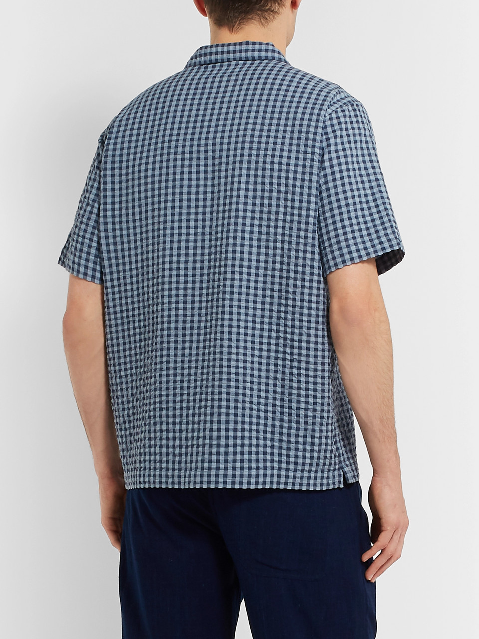 Universal Works Camp-Collar Checked Cotton-Seersucker Shirt