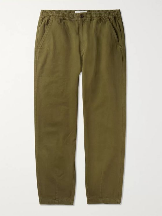 Universal Works Tapered Garment-Dyed Cotton-Canvas Drawstring Trousers