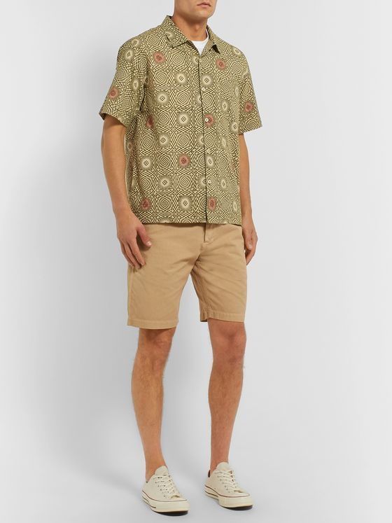 Universal Works Camp-Collar Printed Cotton-Poplin Shirt