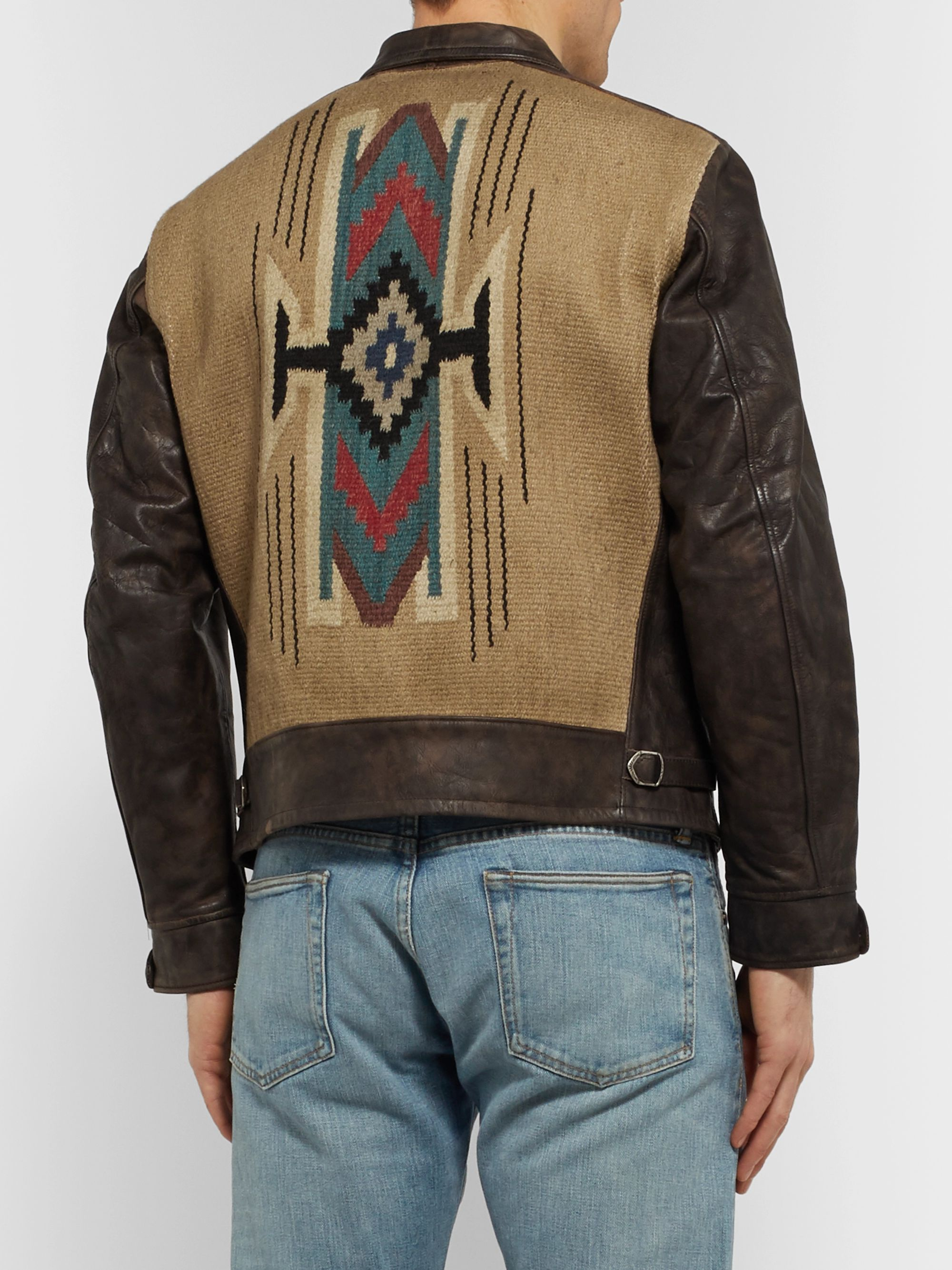 RRL Cotton-Blend Jacquard and Leather Jacket