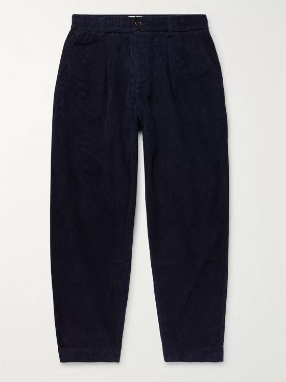 Universal Works Navy Pleated Cotton-Corduroy Trousers