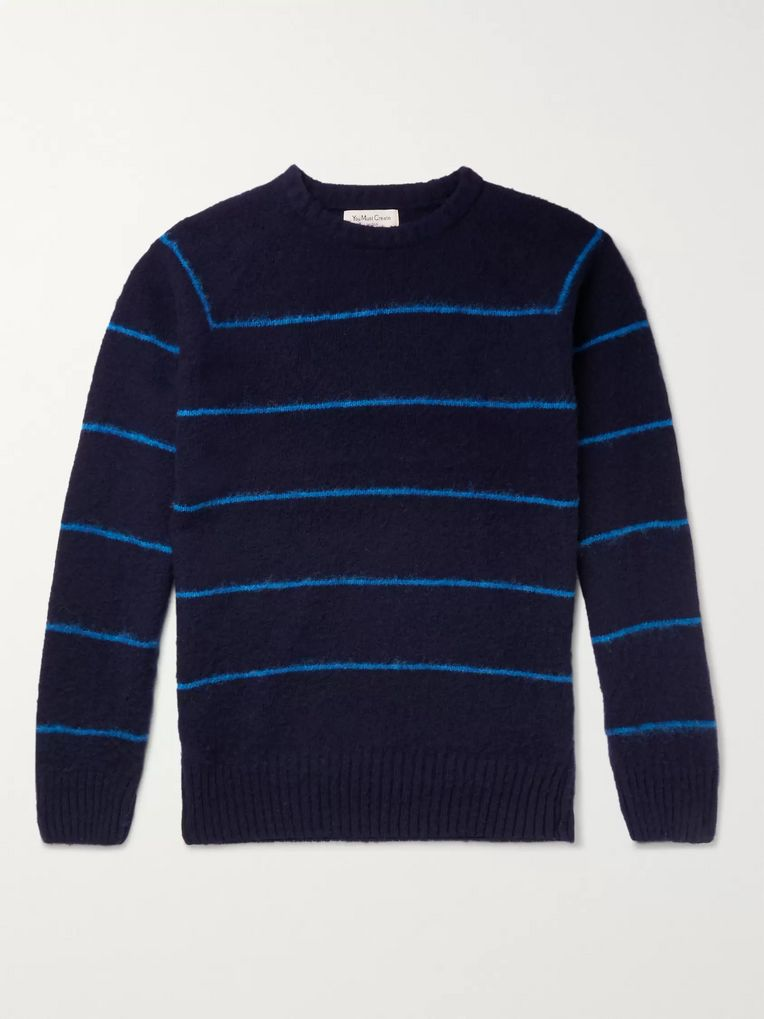 YMC Striped Brushed-Wool Sweater