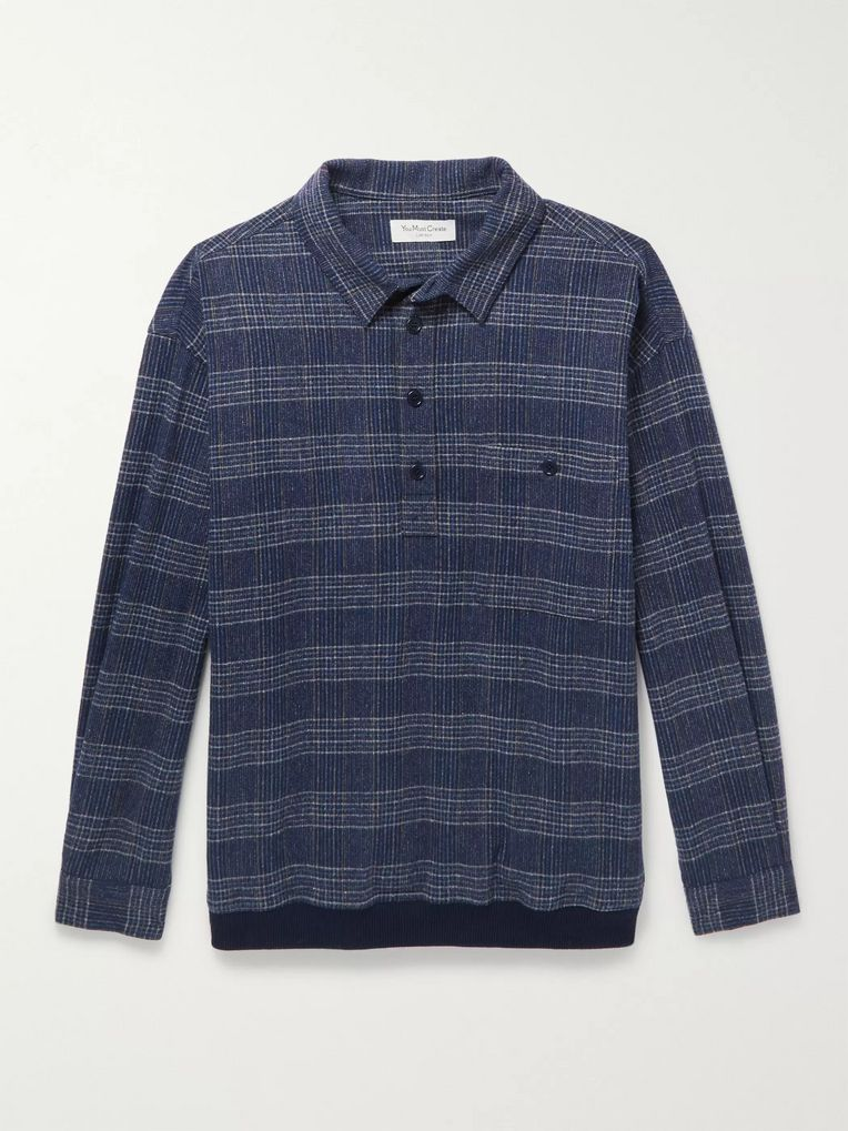 YMC Checked Woven Half-Placket Shirt