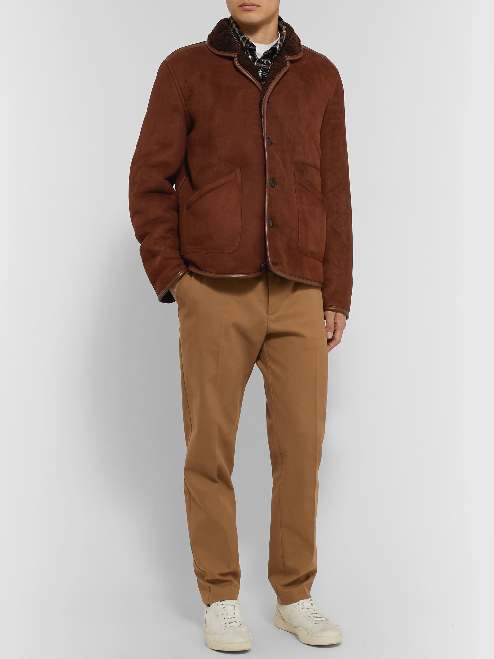 YMC Leather-Trimmed Shearling Jacket